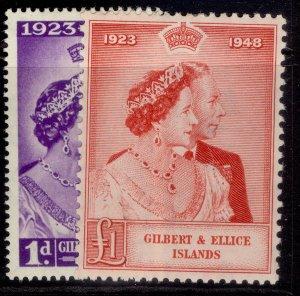GILBERT AND ELLICE ISLANDS GVI SG57-58, ROYAL SILVER WEDDING, M MINT. Cat £16.