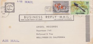 Singapore 5c Anemone Fish and 50c Shama 1966 Singapore, M3 Postcard Airmail t...