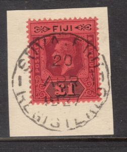 Fiji #91a (SG #137a) XF Used On Piece With Souva Fiji 20 April 1927 Date Cancel