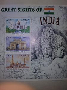 ZAMBIA EXCEPTIONAL BEAUTIFUL GREAT SIGHTS OF INDIA SHEET OF 3