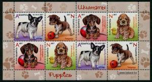 HERRICKSTAMP NEW ISSUES BELARUS Sc.# 1034a Puppies Souvenir Sheet