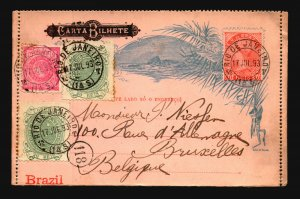 Brazil SC# 111 & 99 (x2) on 1893 Uprated Letter Card to Belgium - Z19416