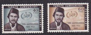 Turkey # 1495-1496, Turkish Journalism Centennial, NH, 1/2 Cat.