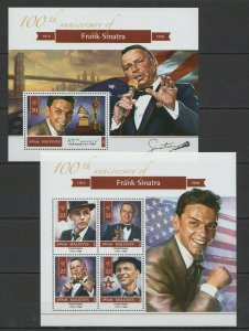 ML145 2015 MALDIVES MUSIC FAMOUS PEOPLE ANNIVERSARY FRANK SINATRA 1KB+1BL MNH