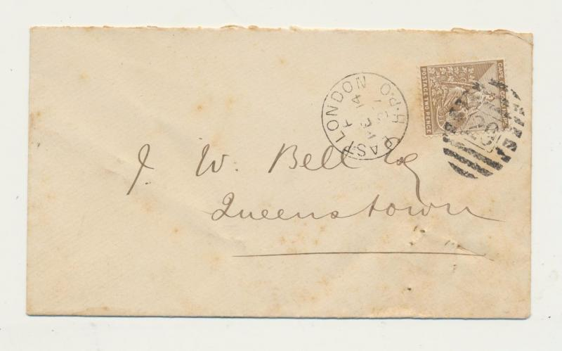 CAPE OF GOOD HOPE 1887 COVER EAST LONDON  H.P.O. CDS +29 BARRED -QUEENSTOWN