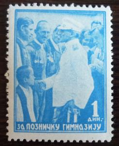 YUGOSLAVIA-THE KINGDOM-RARE CHARITY STAMP (MNH)-'ZA LOZNICKU GIMNAZIJU'-KING R J