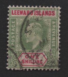 $Leeward Islands Sc#37 Used/VF, remnants on back, Cv. $140