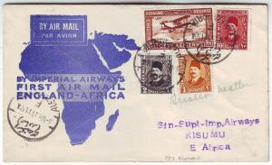 1931 Alexandria Egypt to Kisumu KUT First Flight Cover via Imperial Airways FFC