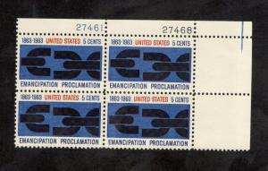 1233 Emancipation Proclamation Plate Block Mint/nh (Free shipping offer)