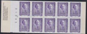 Sweden #881a, Nobel Prize Winners,  Complete Booklet, NH, 1/2 Cat.
