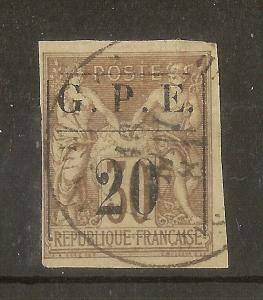 Guadeloupe 1884 20 on 30c SG6 Fine Used Cat£70