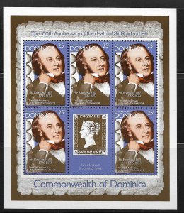 DOMINICA, 608A, MNH, SHEET OF 5 + LABEL, SIR ROWLAND HILL
