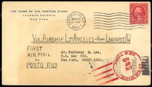 4/25/1925 USS LOS ANGELES AIRSHIP FLIGHT COVER LAKEHURST TO SAN JUAN, PR BT2837