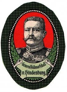 (I.B-CK) Germany (Great War) Cinderella : Field Marshall Paul von Hindenburg
