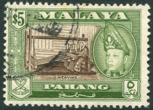 PAHANG-1960 $5 Brown & Bronze-Green Perf 13 x 12½ Sg 86a FINE USED V42824