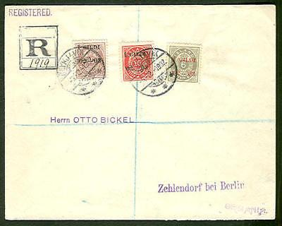 ICELAND 1902, 3 color I GILDI franking reg to Germany