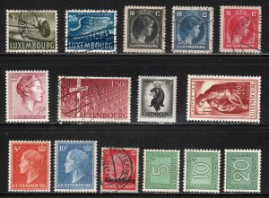 Luxembourg ~ Group of 15 Different Stamps - Unused & Used, MX hinge & condition