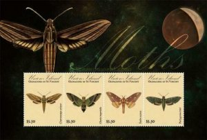 SW633 - Union Island  2011 - Insects - Moths  - MNH Minisheet