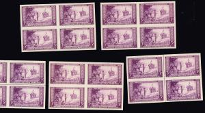 US STAMP # 755 – 1935 3c Wisconsin Tercent.,imperf, MNH BLK OF 4 STAMPS LOT
