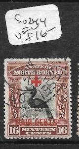 NORTH BORNEO (P0304B) RED CROSS 4C ON 16C BIRD SG 244  VFU