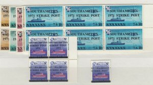 GB 1971 Southampton Strike Mail Blocks Of 6/4 MNH J6327