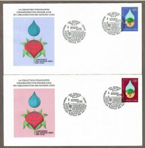 UN Geneva # 65 - 66 , UN Water Conference , on 2 FDCs - I Combine S/H