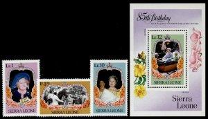 Sierra Leone 690-3 MNH Queen Mother 85th Birthday, Flowers