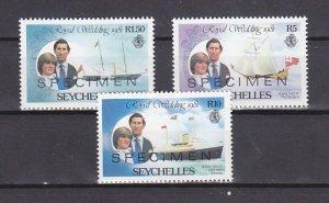 Seychelles, Scott cat. 469, 471, 473. Royal Wedding, Specimen o/prints. ^