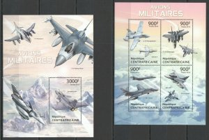 QF1017 2013 CENTRAL AFRICA MILITARY AVIATION AVIONS MILITAIRES KB+BL MNH