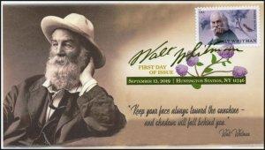 19-262, 2019, Walt Whitman, Digital Color Postmark, First Day Cover, Writer