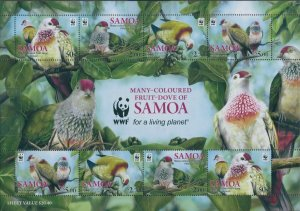 Samoa 2011 SG1228 Many-coloured Fruit Dove WWF MS MNH