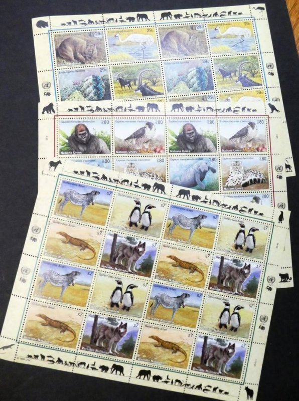 EDW1949SELL : UNITED NATIONS 1993, 94, 96 Wildlife sheetlets from all 3 Offices.