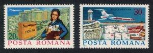 Romania Douglas DC-10 Aircraft Postwoman Postal Services 2v SG#4304-4305