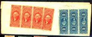 R60d STRIP OF 3 R66c STRIP OF 4 USED FINE ON 1871 MD DOCUMENT Cat $85