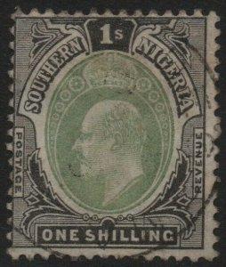 SOUTHERN NIGERIA-1903-04 1/- Green & Black Sg 16 GOOD USED V39407