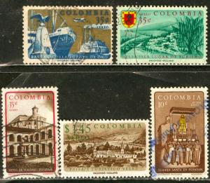 Colombia; 1961: Scott # C404-C408: O/Used Cpl. Set