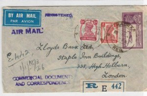 INDIA 1946 MADRAS  NATIONAL BANK REGISTERED COVER    R3126