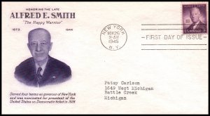 US 937 Alfred E Smith Grimsland Typed FDC