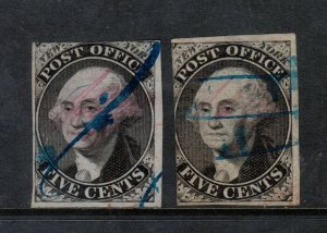 USA #9X1 #9X1b Used Fine Duo With Blue Pen Cancels