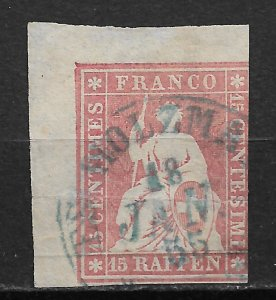 1855-7 Switzerland Sc28 Helvetia 15c with blue thread used small tear