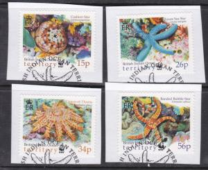 British Indian Ocean Territory # 231-234, WWF - Starfish, Used on paper