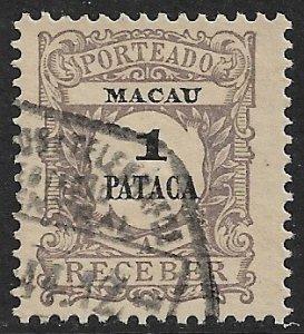 MACAO MACAU 1904 1p Postage Due Sc J11 VFU