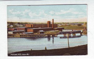 Z622 1910 used postcard milltown n.b. cotton mill canada mailed to malden mass