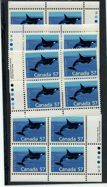 Canada USC #1173i Mint 1988 57c Harrison Paper MS Imprint Blocks NH