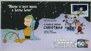 SC 5025, 2015, Charlie Brown Christmas, FDC, DCP, Linus, tree, 15-268