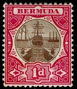 BERMUDA SG32, Dry Dock 1d brown & carmine, LH MINT.