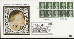 20/10/1986 £1.80 CHILDRENS BOOK ILLUSTRATION BOOKLET 2 CYL.NO.LEFT SELVEDGE FDC