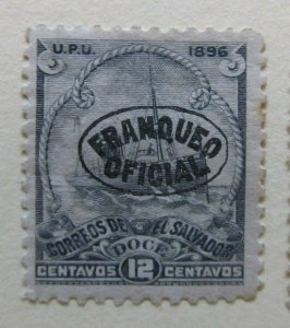 A6P38F200 Salvador Official Stamp 1896 Unwmk optd 12c mh*