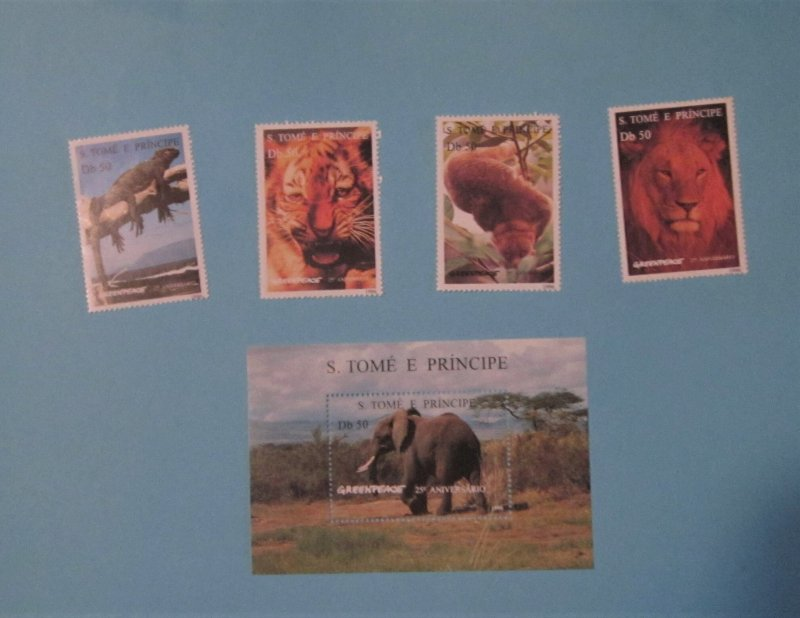 St. Thomas and Prince Is. 1237-41 MNH Set and S/S. Greenpeace Anniv.