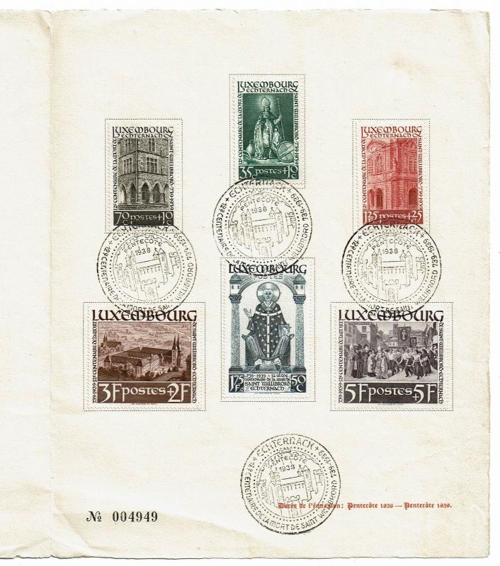 Luxembourg 1938 Pentecote Series, First Day Booklet - Z452